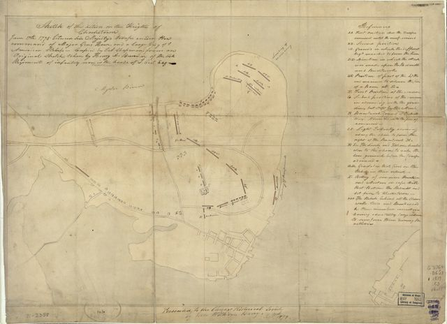 Sketch of the action on the heights of Charlestown June 17th, 1775 between His Majesty's troops under the command of Major Genl. Howe, and a large body of American rebels.