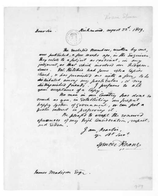 Spencer Roane to James Madison, August 22, 1819.