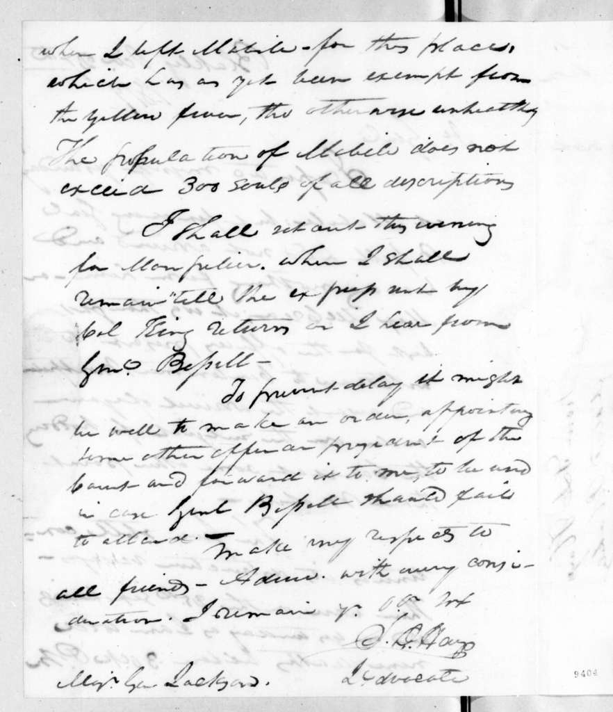 Stockley Donelson Hays to Andrew Jackson, October 27, 1819