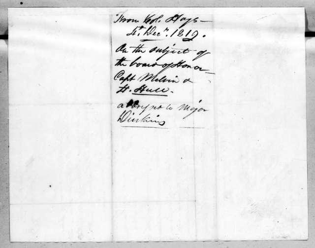 Stockley Donelson Hays to James Edward Dinkins, December 4, 1819