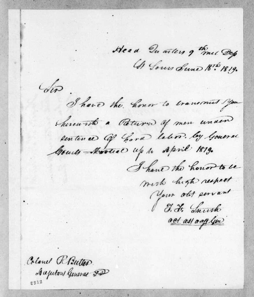 T. F. Smith to Robert Butler, June 18, 1819