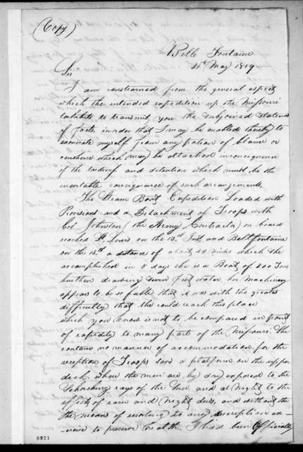 Talbot Chambers to Daniel Bissell, May 21, 1819