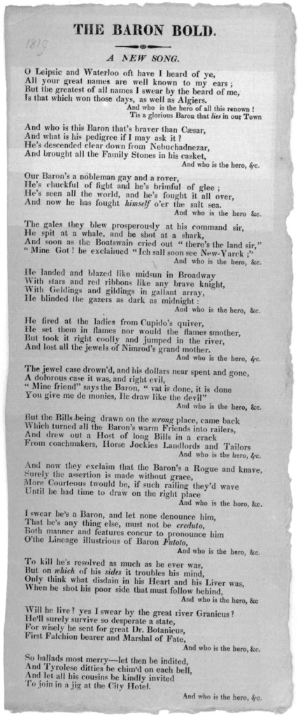 The Baron bold. A new song [New York 1819].