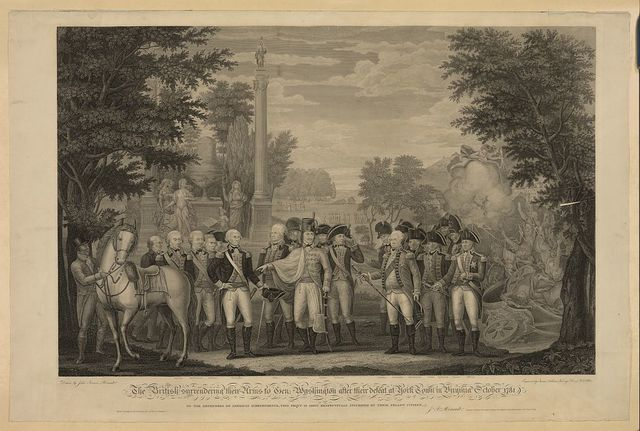 The British surrendering their arms to Gen. Washington after their defeat at YorkTown in Virginia October 1781 / drawn by John Francis Renault ; engraved by Tanner, Vallance, Kearny & Co. and Wm. Allen.