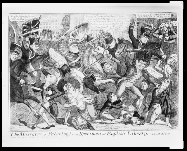 The Massacre of Peterloo! Or a specimen of English liberty, August 16th, 1819 / / Marks, fect.