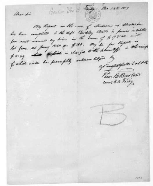 Thomas B. Barton to James Madison, December 18, 1819.