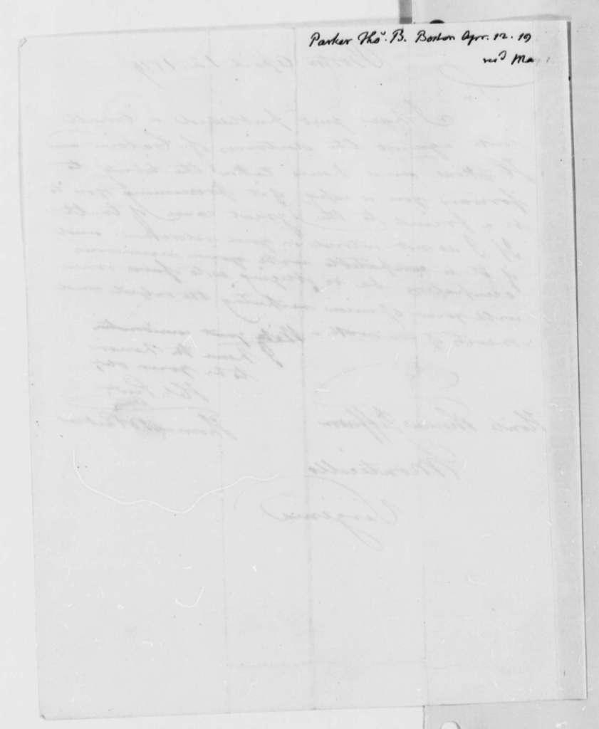 Thomas B. Parker to Thomas Jefferson, April 12, 1819