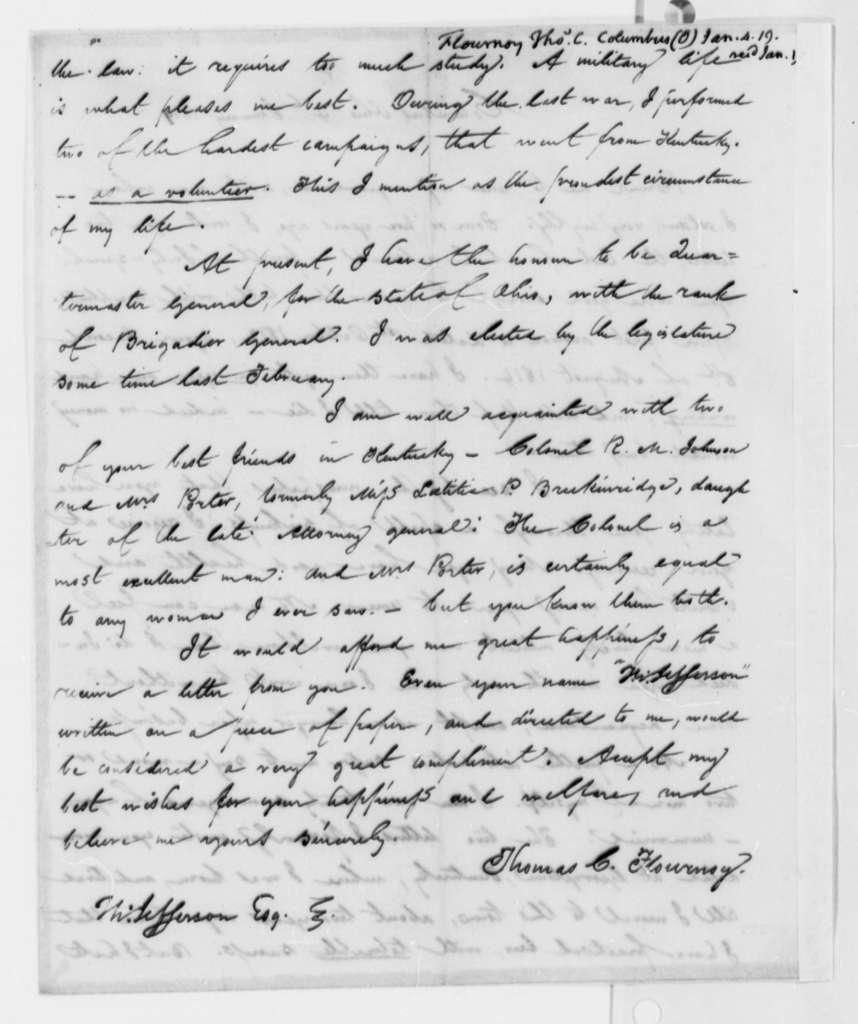 Thomas C. Flournoy to Thomas Jefferson, January 4, 1819
