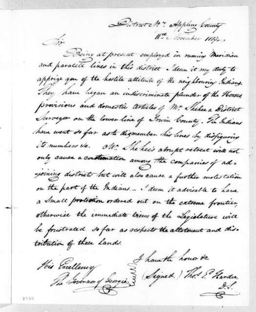 Thomas E. Hardee to John Clark, November 11, 1819