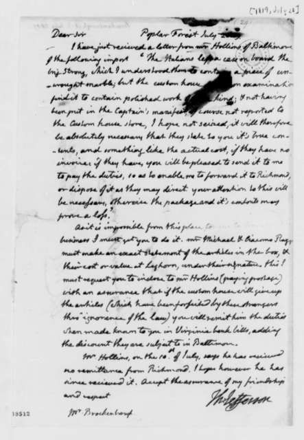 Thomas Jefferson to Arthur S. Brockenbrough, July 28, 1819