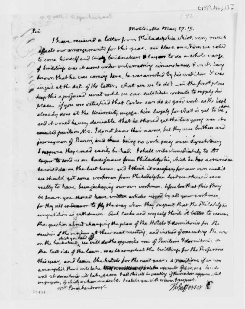 Thomas Jefferson to Arthur S. Brockenbrough, May 17, 1819
