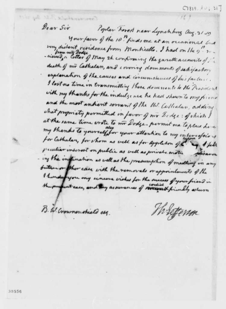 Thomas Jefferson to Benjamin W. Crowninshield, August 31, 1819