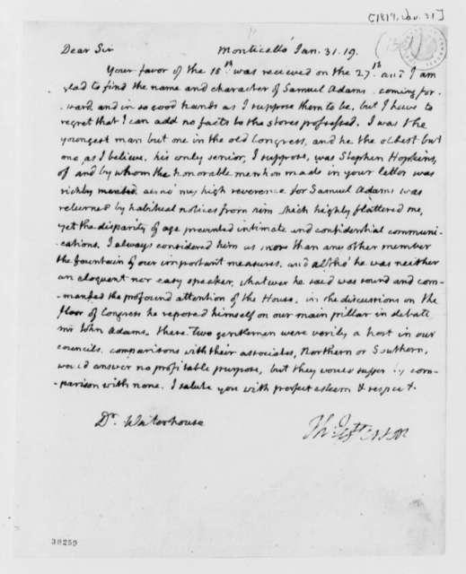 Thomas Jefferson to Benjamin Waterhouse, January 31, 1819