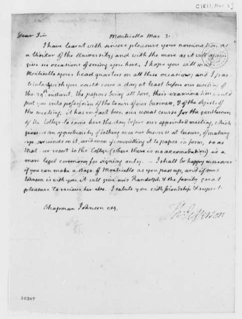 Thomas Jefferson to Chapman Johnson, March 3, 1819