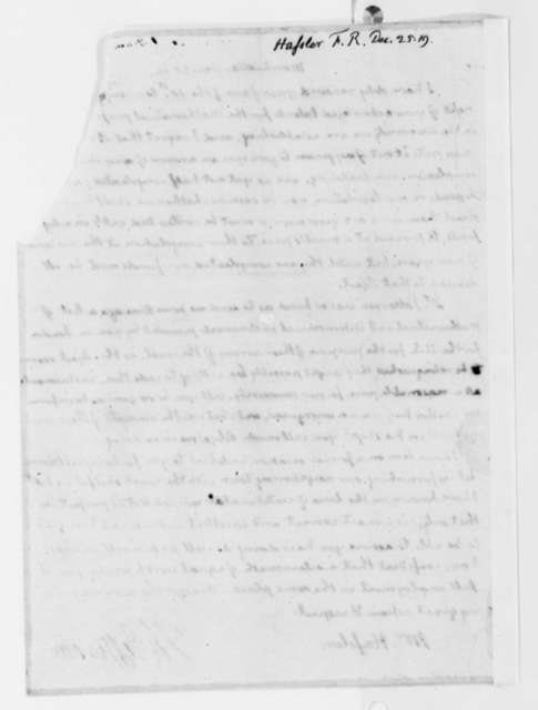Thomas Jefferson to Ferdinand R. Hassler, December 25, 1819, Mutilated, with Intact Copy