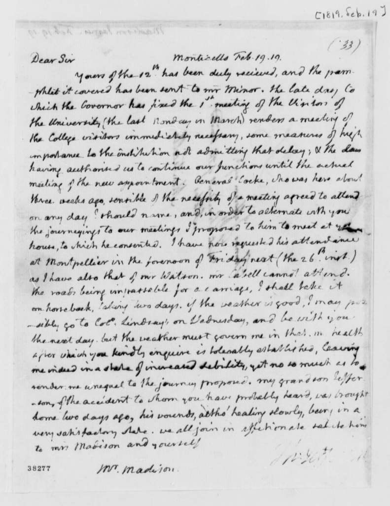 Thomas Jefferson to James Madison, February 19, 1819
