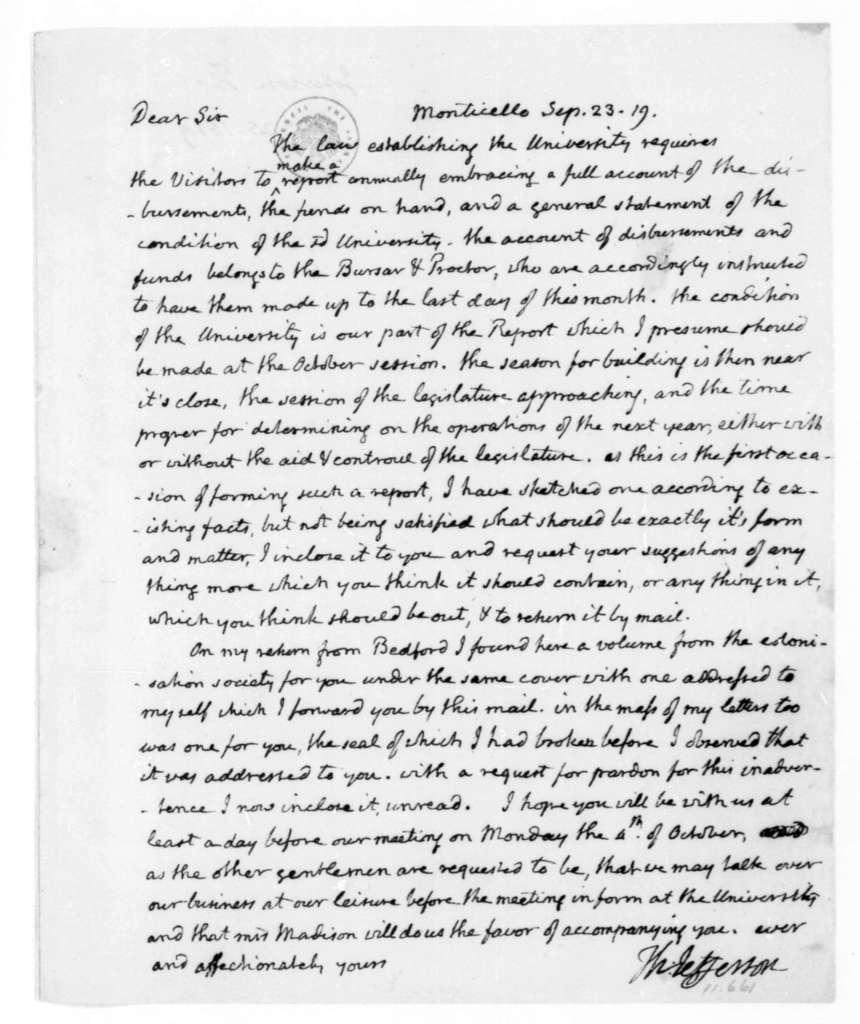 Thomas Jefferson to James Madison, September 23, 1819.