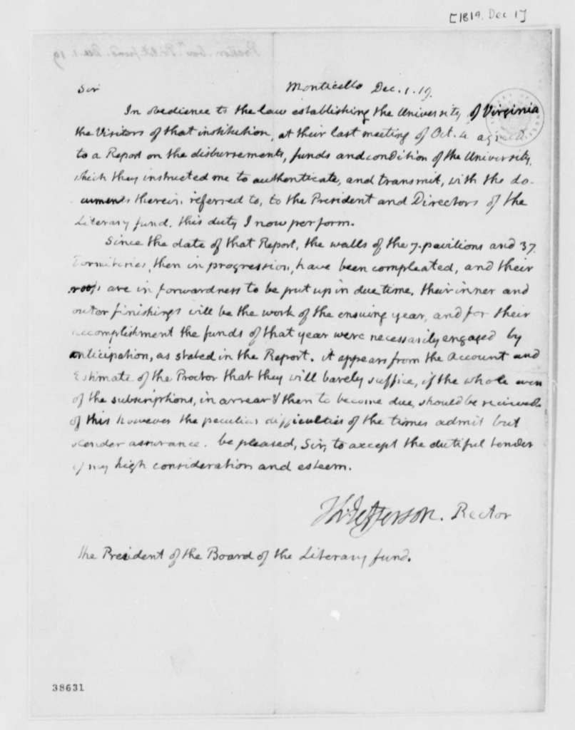 Thomas Jefferson to James P. Preston, December 1, 1819