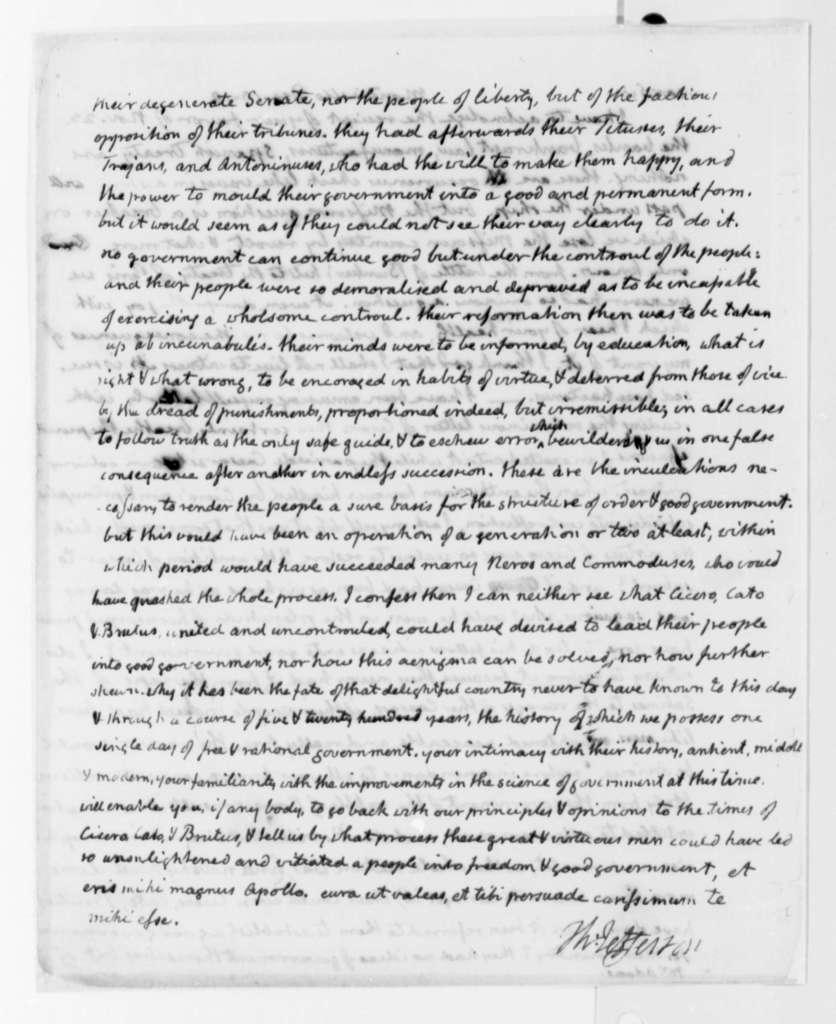 Thomas Jefferson to John Adams, December 10, 1819