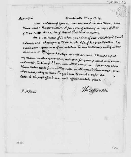 Thomas Jefferson to John Adams, May 15, 1819