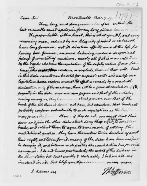 Thomas Jefferson to John Adams, November 7, 1819