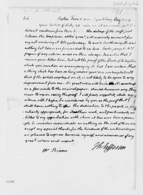 Thomas Jefferson to John Binns, August 31, 1819