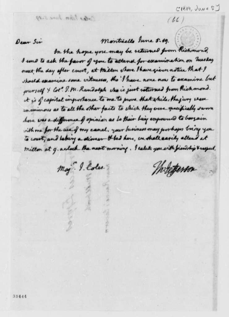 Thomas Jefferson to John Coles, June 5, 1819