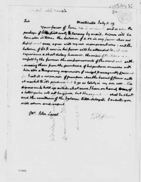 Thomas Jefferson to John Laval, July 5, 1819