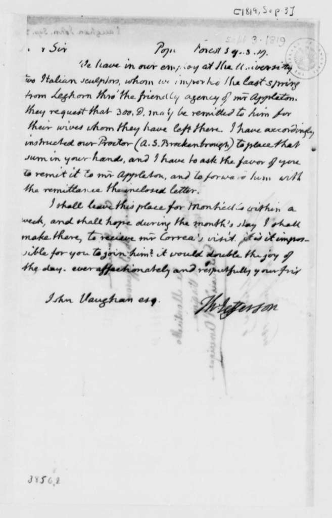 Thomas Jefferson to John Vaughan, September 3, 1819