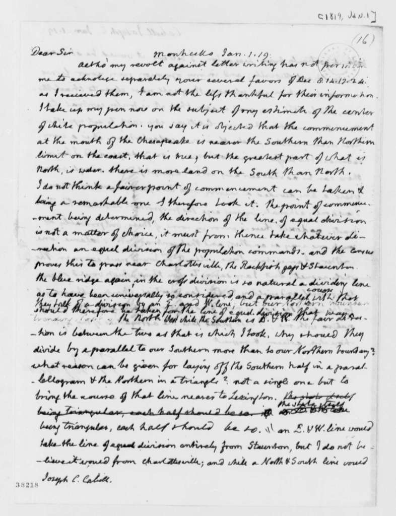 Thomas Jefferson to Joseph C. Cabell, January 1, 1819