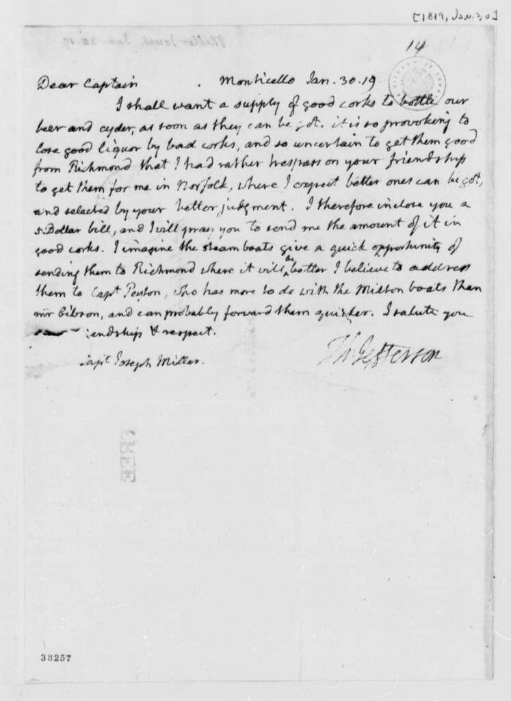 Thomas Jefferson to Joseph Miller, January 30, 1819