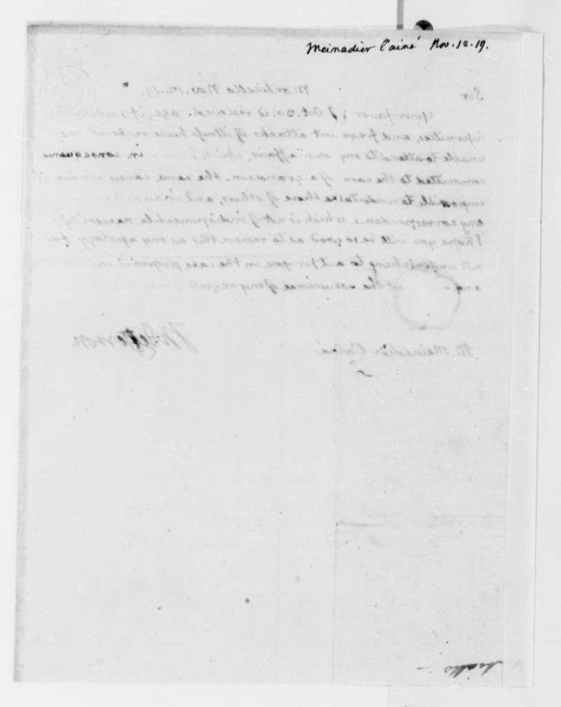 Thomas Jefferson to L'Aine Meinadier, November 12, 1819