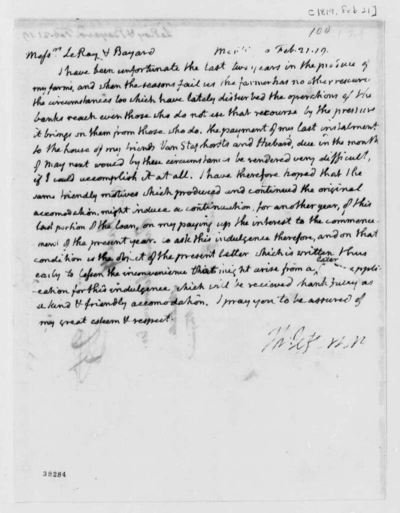 Thomas Jefferson to Leroy-Bayard & Company, February 21, 1819