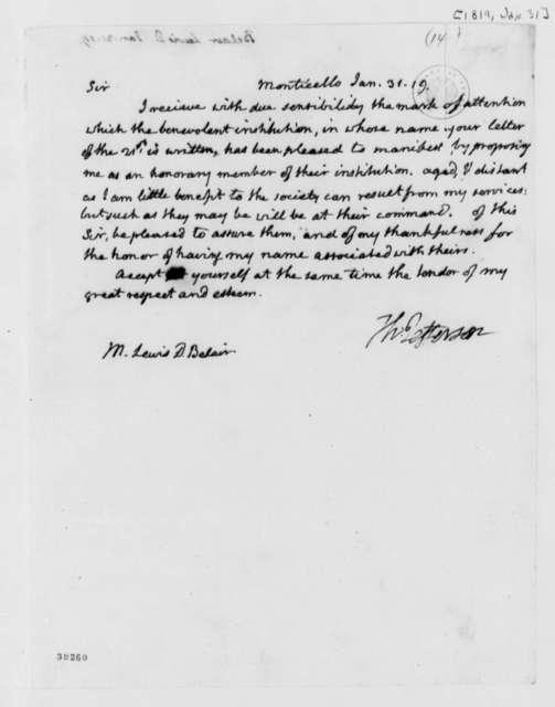 Thomas Jefferson to Lewis D. Belair, January 31, 1819