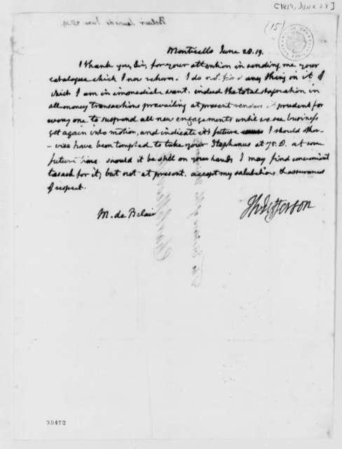 Thomas Jefferson to Lewis D. Belair, June 28, 1819