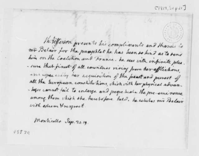 Thomas Jefferson to Lewis D. Belair, September 21, 1819