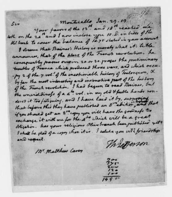 Thomas Jefferson to Matthew Carey, January 29, 1819