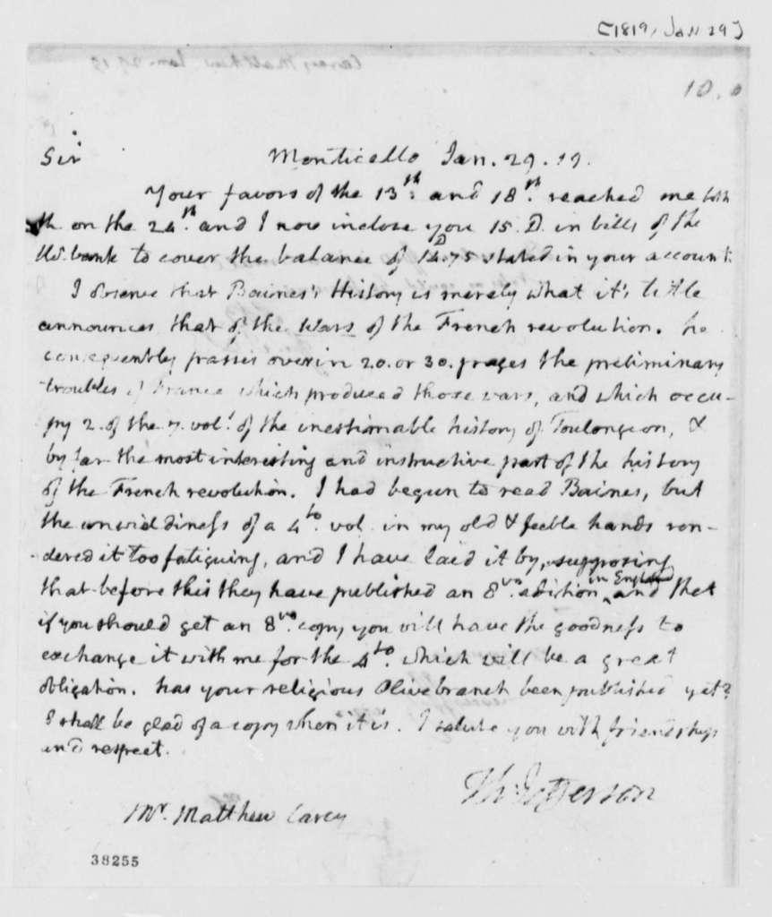 Thomas Jefferson to Matthew Carey, January 29, 1819, with Note