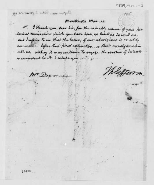 Thomas Jefferson to Peter S. du Ponceau, March 14, 1819