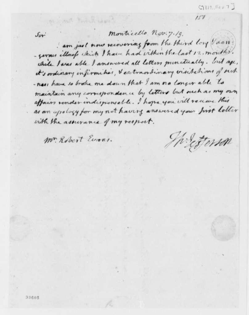 Thomas Jefferson to Robert J. Evans, November 7, 1819