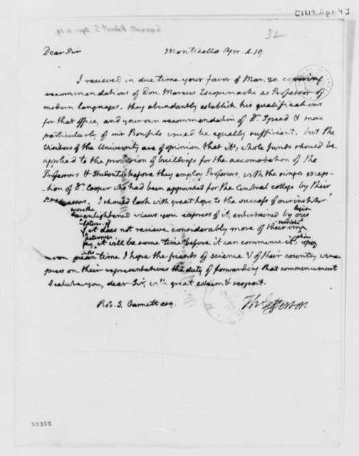 Thomas Jefferson to Robert S. Garnett, April 4, 1819