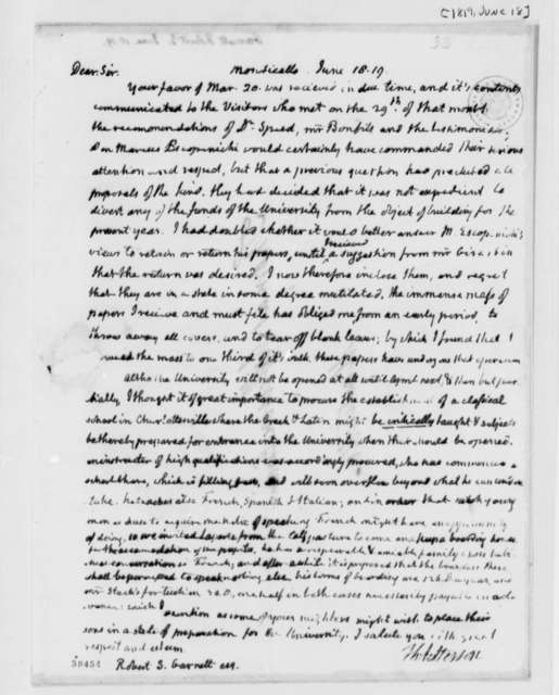 Thomas Jefferson to Robert S. Garnett, June 18, 1819
