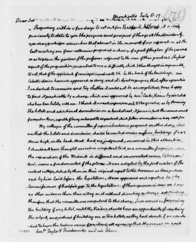 Thomas Jefferson to Robert Taylor, James Breckinridge, and Chapman Johnson, July 8, 1819