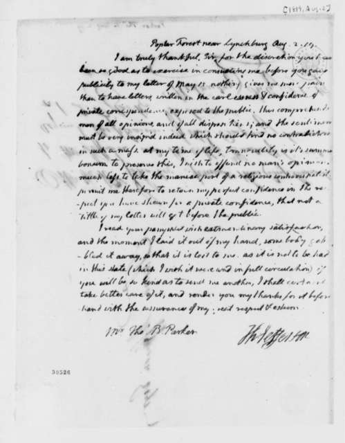 Thomas Jefferson to Thomas B. Parker, August 2, 1819