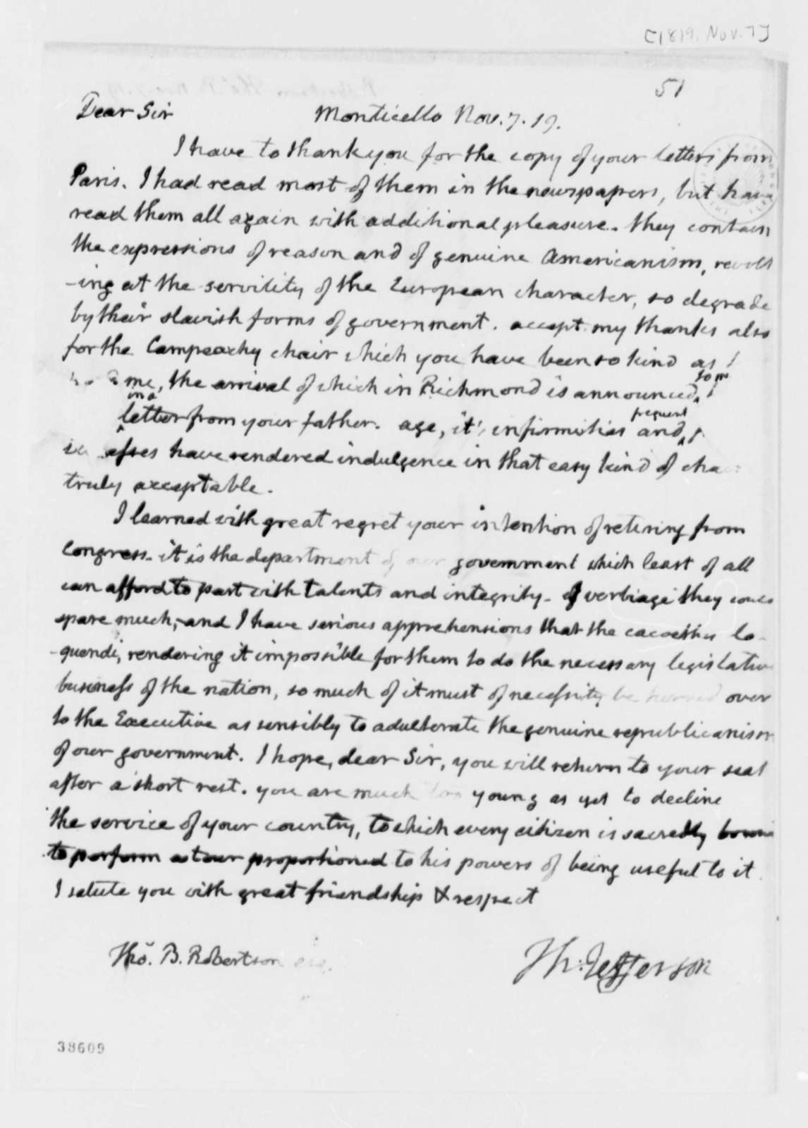 Thomas Jefferson to Thomas B. Robertson, November 7, 1819