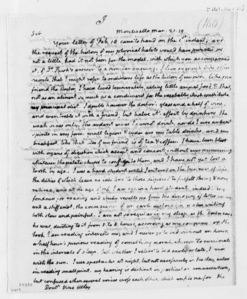 Thomas Jefferson to Vine Utley, March 21, 1819