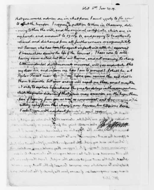 Thomas Jefferson to William Wirt, June 27, 1819