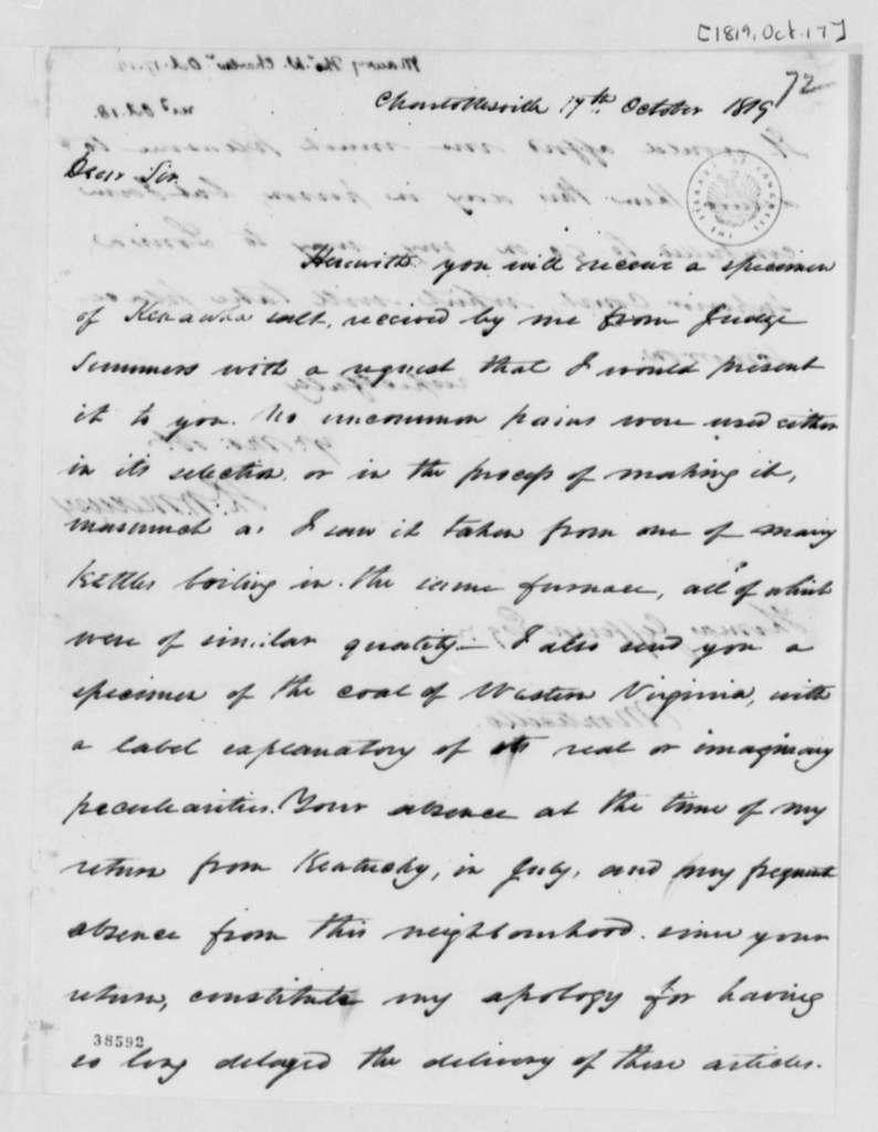 Thomas Walker Maury to Thomas Jefferson, October 17, 1819