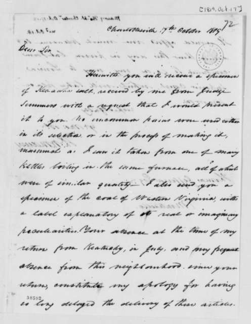 Thomas Walker Maury to Thomas Jefferson, October 17, 1819
