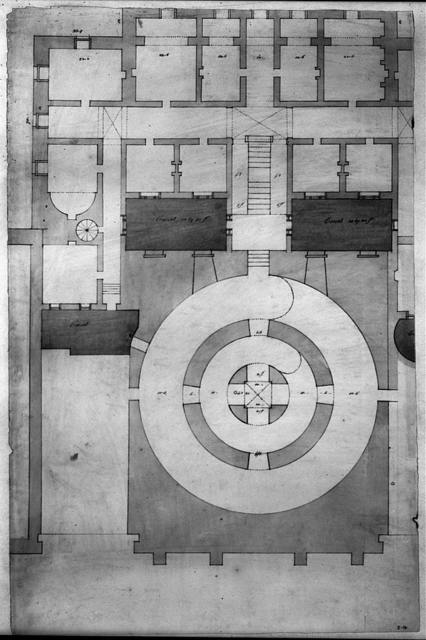 [United States Capitol, Washington, D.C. Floor plan showing rotunda and courts]